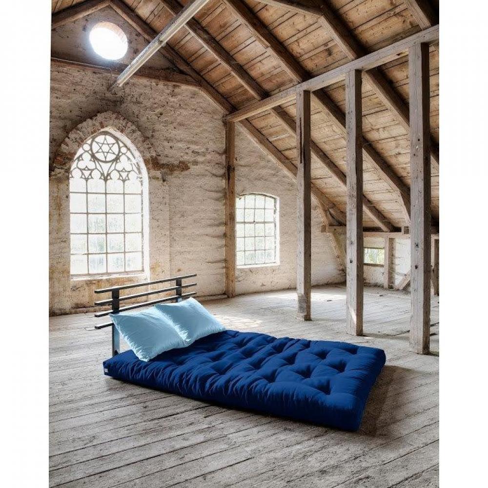 Canapé lit noir SHIN SANO futon royal avec 2 coussins bleu celeste couchage 140*200cm