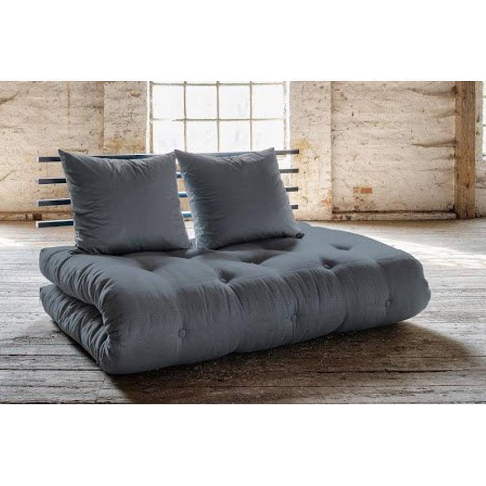 canap banquette futon convertible au meilleur prix canap lit noir shin sano futon gris. Black Bedroom Furniture Sets. Home Design Ideas