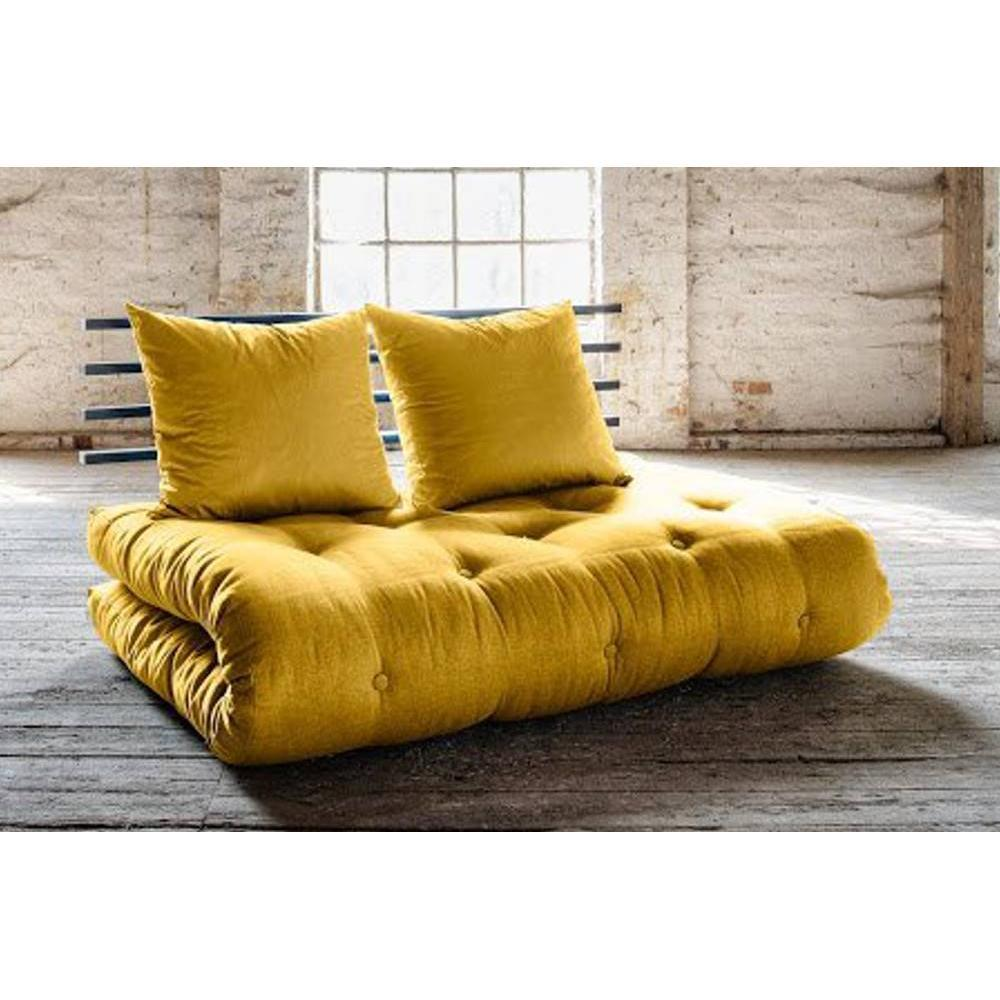 canap banquette futon convertible au meilleur prix canap lit noir shin sano futon jaune. Black Bedroom Furniture Sets. Home Design Ideas
