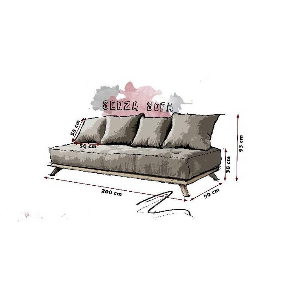 Meridienne SENZA noire matelas futon gris granite couchage 90*200cm