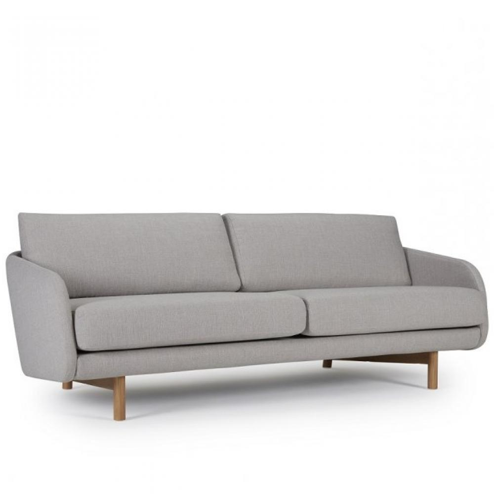 Canapé droit 3 places Gris Tissu Design