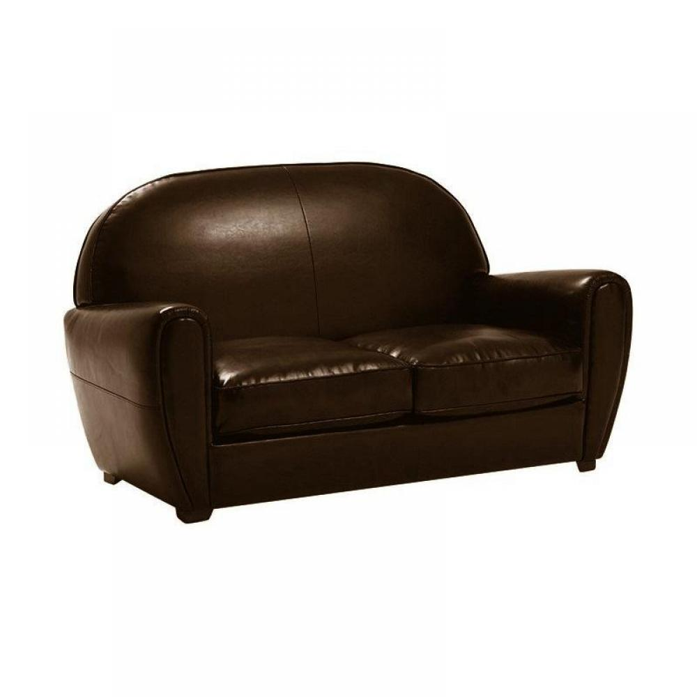 canap fixe confortable design au meilleur prix canap club 2 places en cuir bycast marron. Black Bedroom Furniture Sets. Home Design Ideas