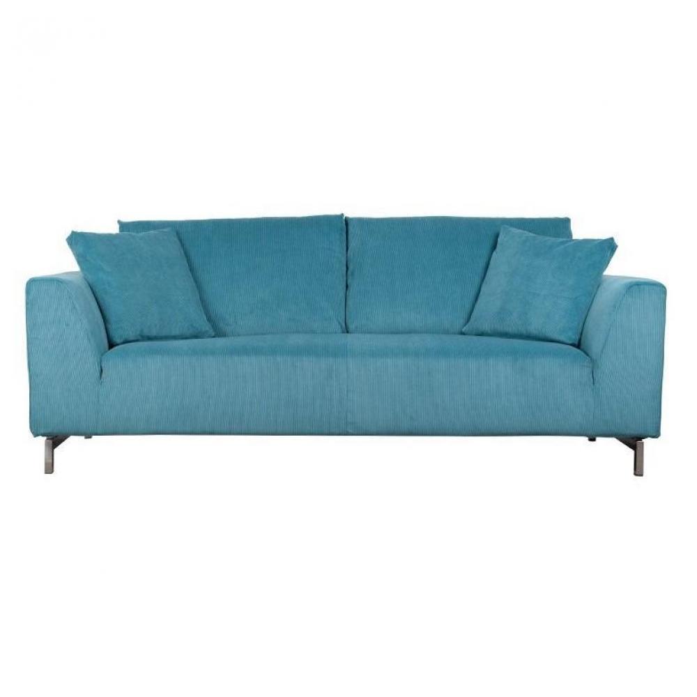 Canap fixe confortable design au meilleur prix zuiver canap dragon rib 3 places tissu bleu for Canape zuiver