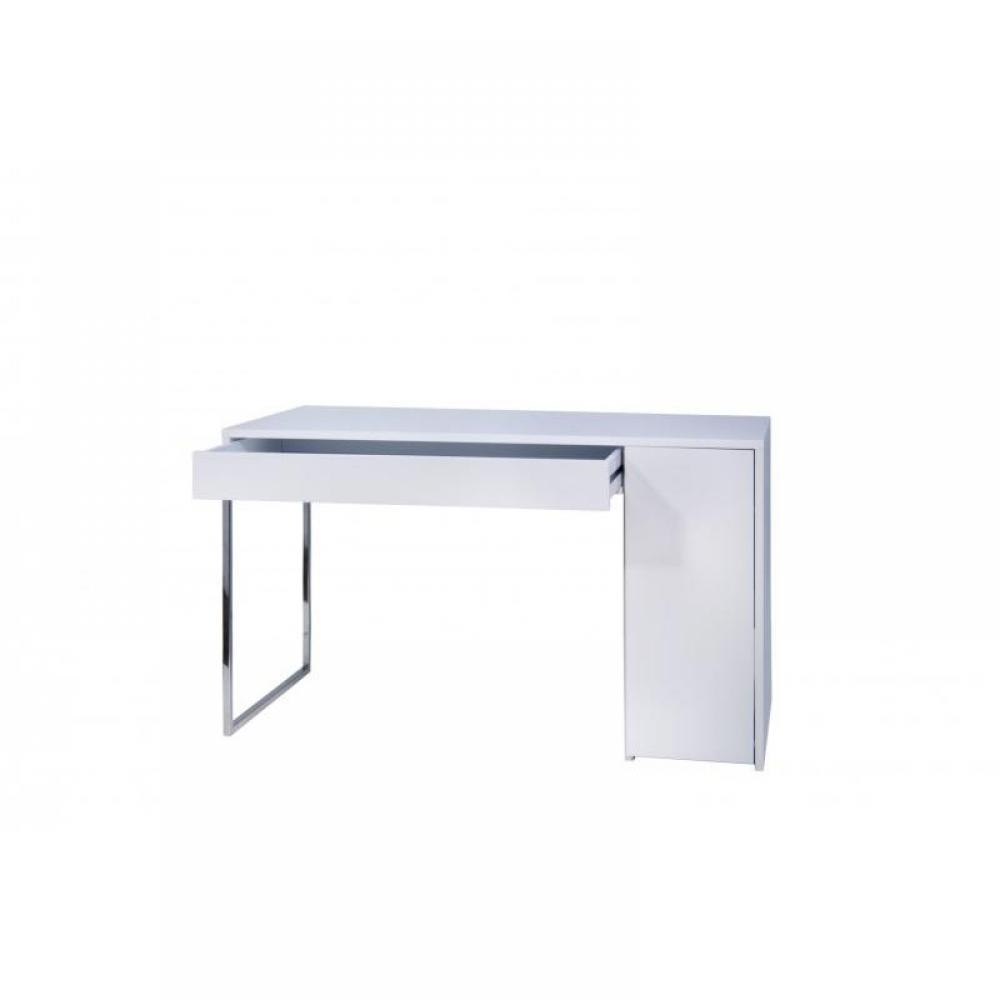 bureaux meubles et rangements prado bureau blanc avec pi tement acier chrom inside75. Black Bedroom Furniture Sets. Home Design Ideas