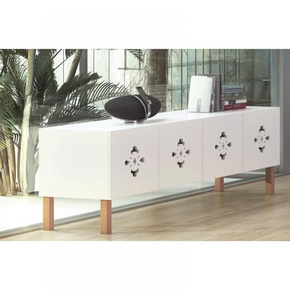 buffets meubles et rangements scatola buffet spacieux blanc mat avec portes pi tement en bois. Black Bedroom Furniture Sets. Home Design Ideas