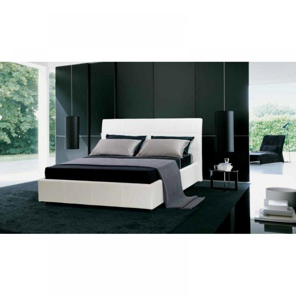 lits coffres chambre literie lit coffre design cesare couchage 2 personnes 180 200cm en cuir. Black Bedroom Furniture Sets. Home Design Ideas