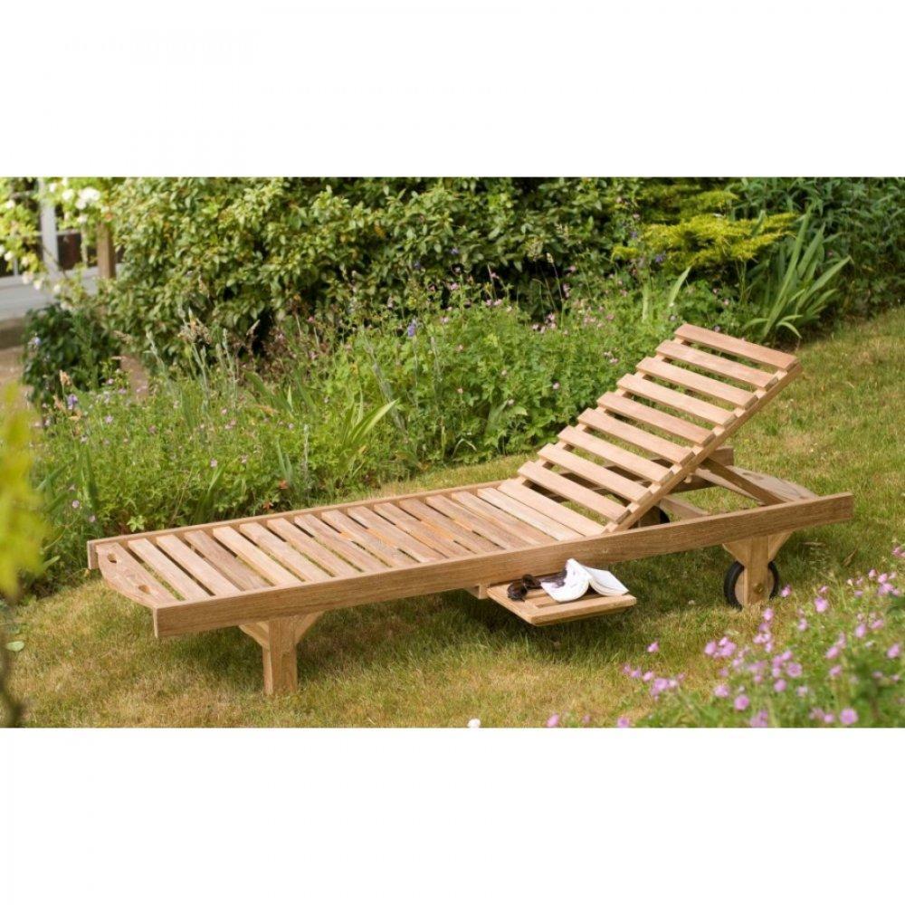 Chaise longue de jardin transat bain de soleil au for Chaise longue bain de soleil teck