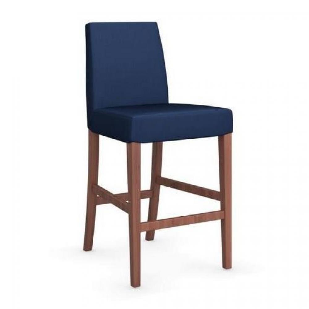 Chaise De Bar LATINA Pietement Noyer Assise Tissu Bleu