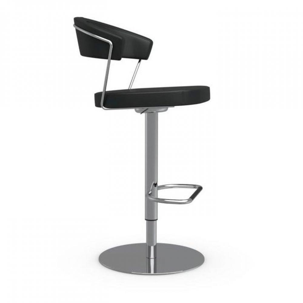 chaise de bar en cuir noir