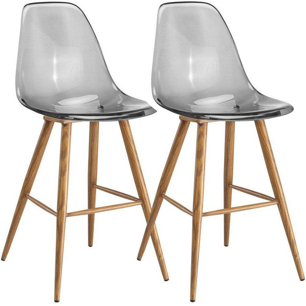 Lot De 2 Chaises Bar Design Scandinave OSANA En Polycarbonate Fume