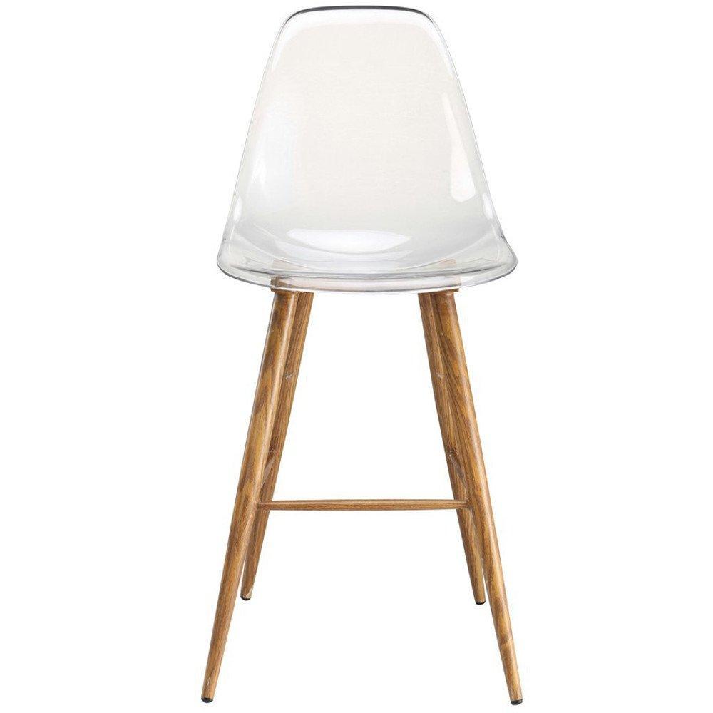 Lot De 2 Chaises Bar Design Scandinave OSANA En Polycarbonate Transparent