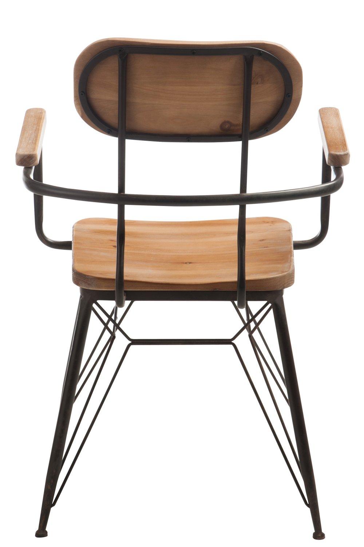 Chaise bistro TROB en métal noir et bois naturel.