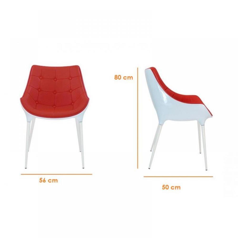 chaises meubles et rangements club chaise capitonnee plastique pieds inox rouge inside75. Black Bedroom Furniture Sets. Home Design Ideas