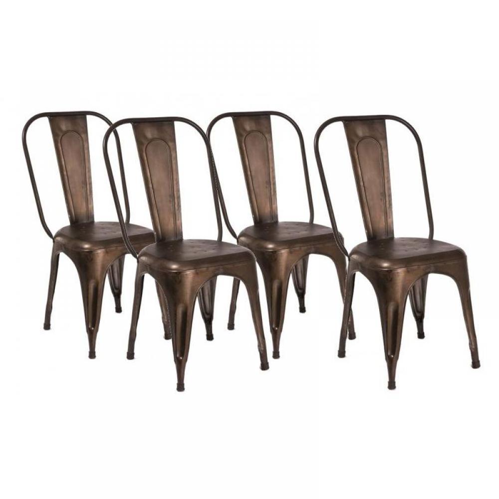 Lot de 4 chaises design AIX ROSTIG en acier marron