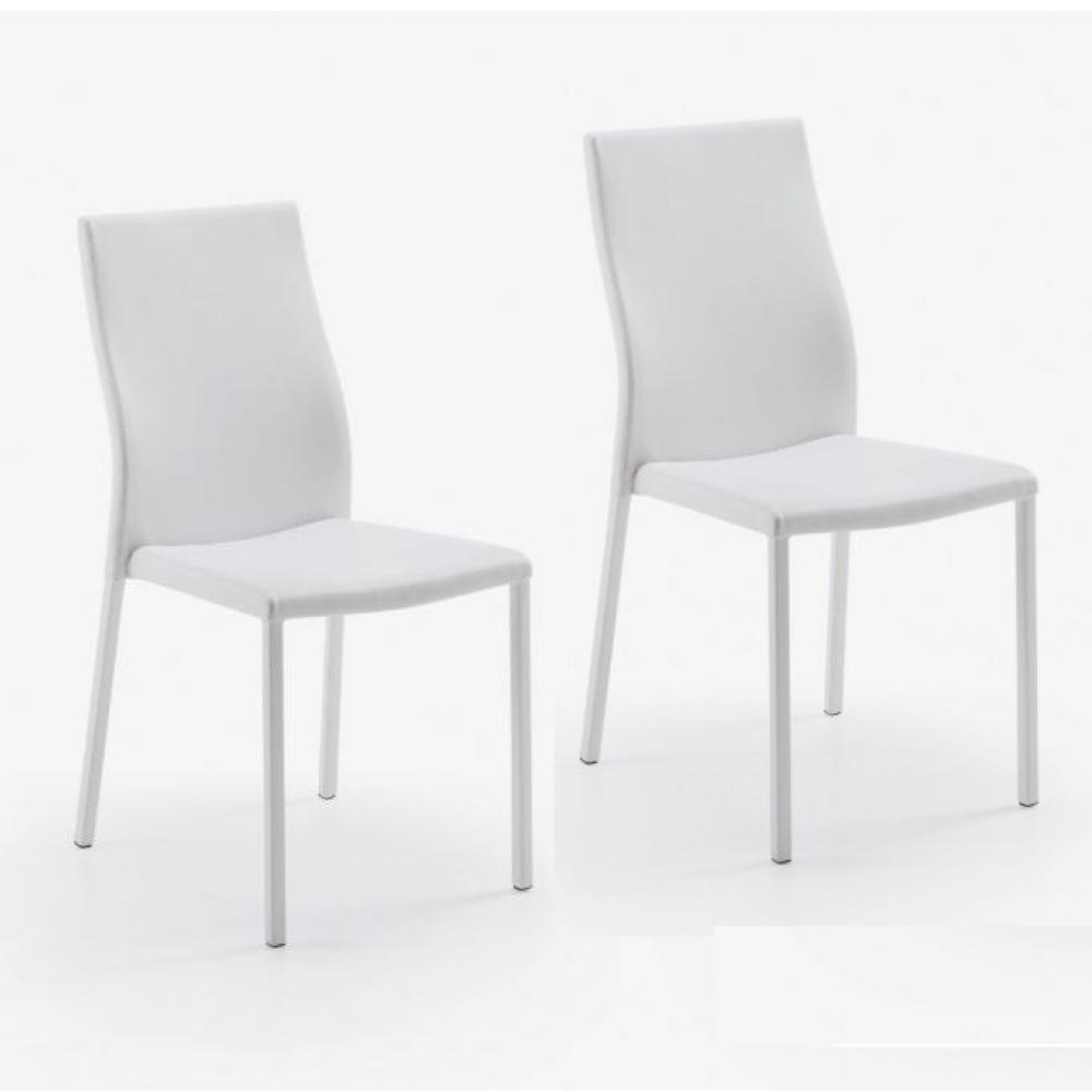 Lot de 2 chaises design HELLEN polyuréthane façon cuir blanc et acier blanc