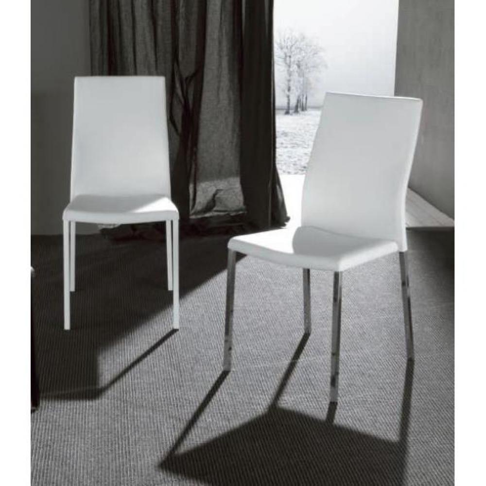 Chaise design ergonomique et stylis e au meilleur prix lot de 2 chaises desi - Chaises simili cuir blanc ...