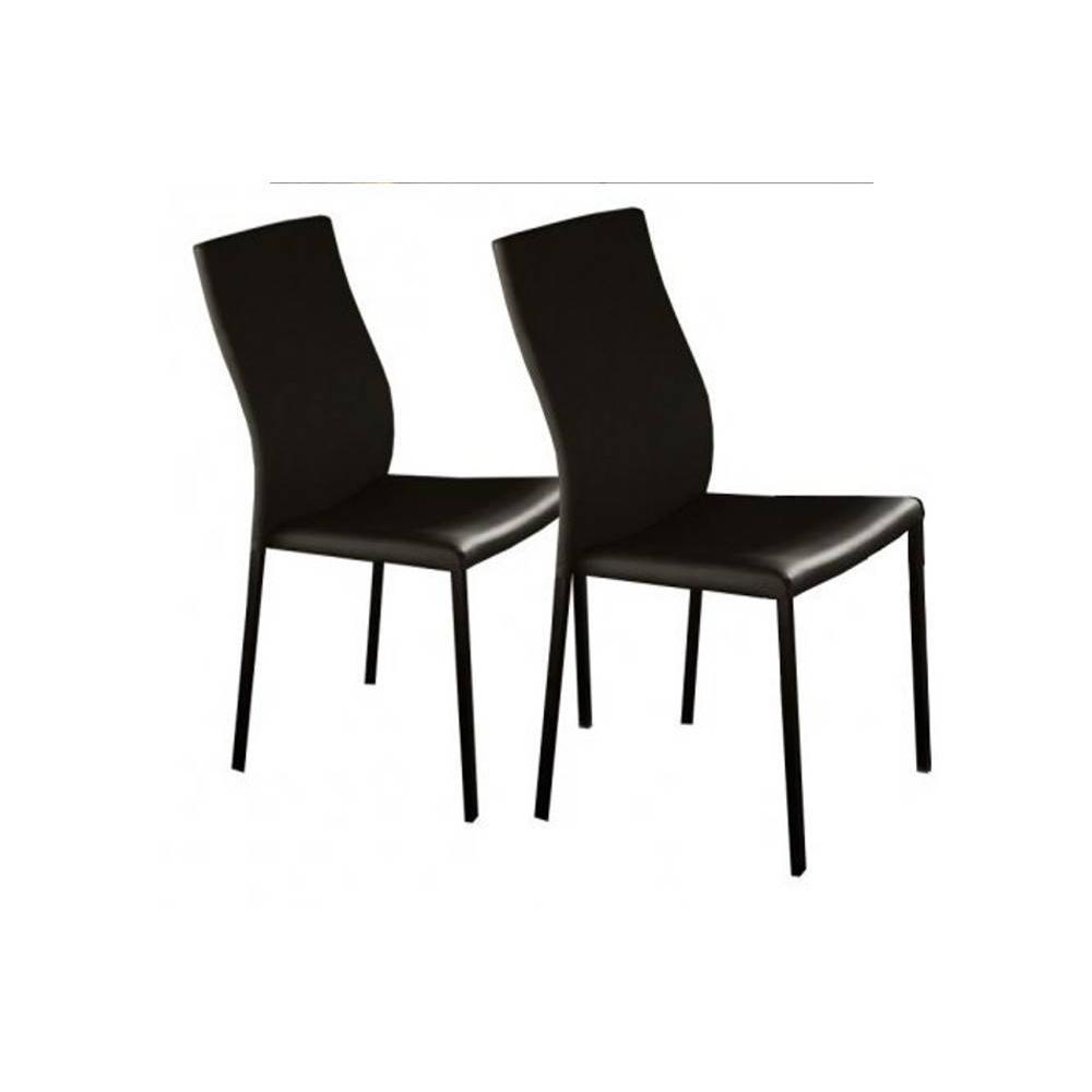 Lot de 2 chaises design HELLEN piétement acier noir brillant. La chaise design HELLEN de la collection Prestige d'INSIDE apportera sobri&eacute