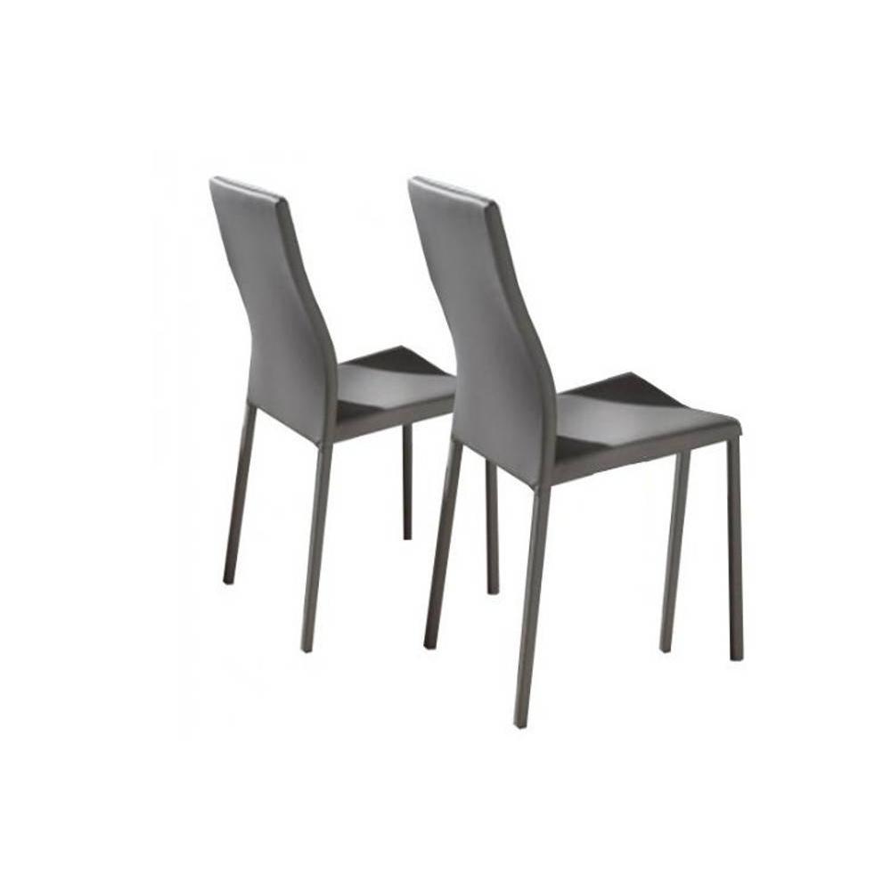 Lot de 2 chaises design HELLEN polyuréthane façon cuir taupe pieds écopelle taupe.