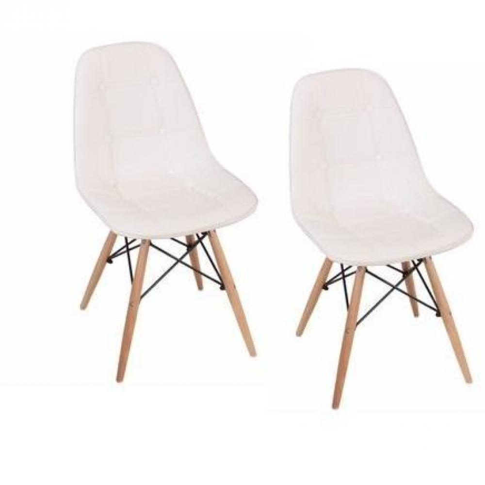 Lot de 2 chaises design HENRY blanche piétement en bois