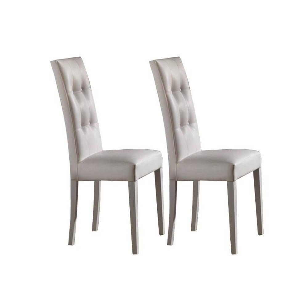 lot de 2 chaises design italienne four seasons revtement polyurthane faon cuir blanc pitement blanc mat - Chaise Italienne Design