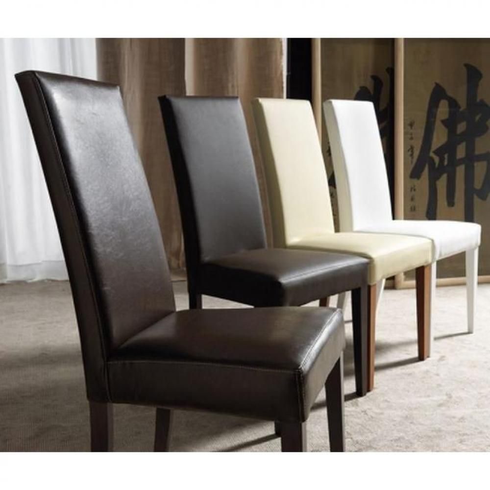 Chaises simili cuir blanc hoze home for Chaise cuir blanc
