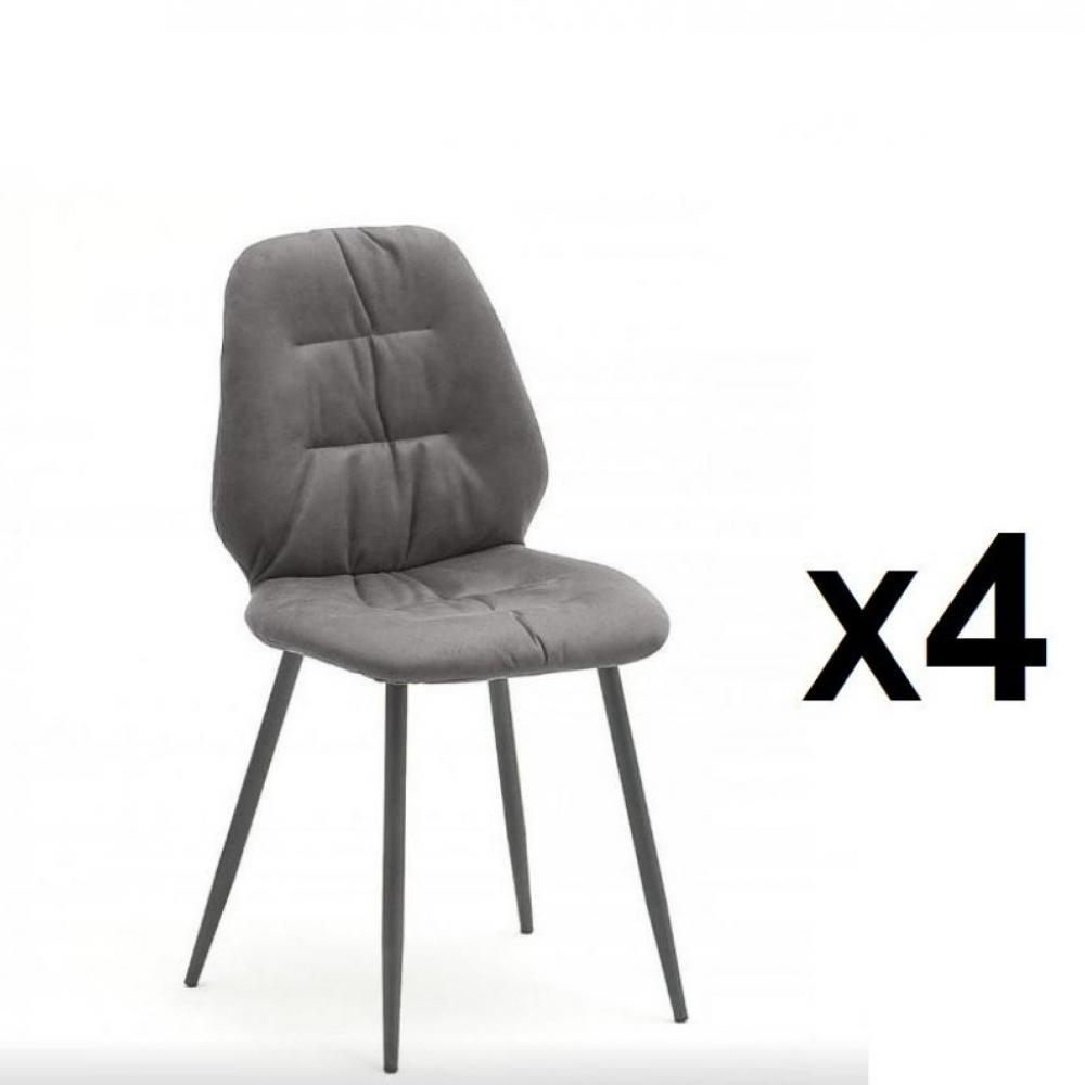 Lot de 4 chaises rétro NADES gris pieds laqués anthracite