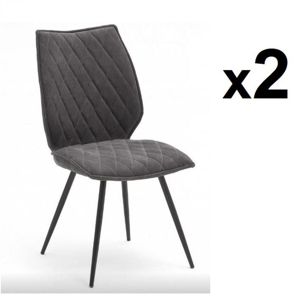 Lot de 2 chaises design NIME tissu anthracite et pieds laqués anthracite