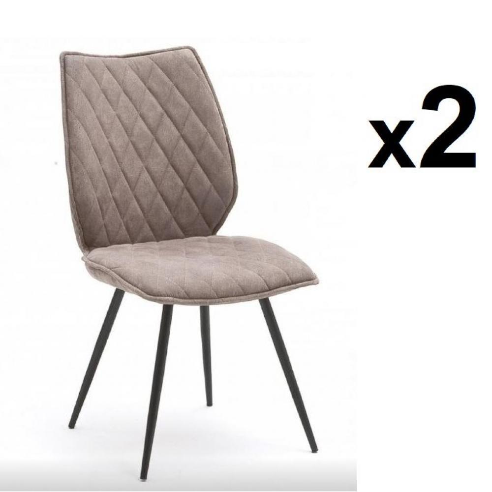 Lot de 2 chaises design NIME tissu sable et pieds laqués anthracites