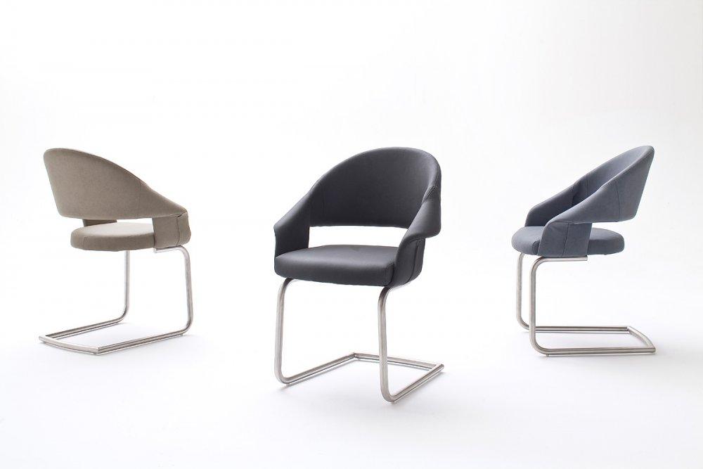 Lot de 2 chaises design PORTO polyuréthane gris pieds acier brossé
