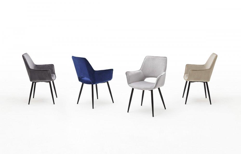 Lot de 2 chaises design SION  velours cappuccino pieds laqués anthracite