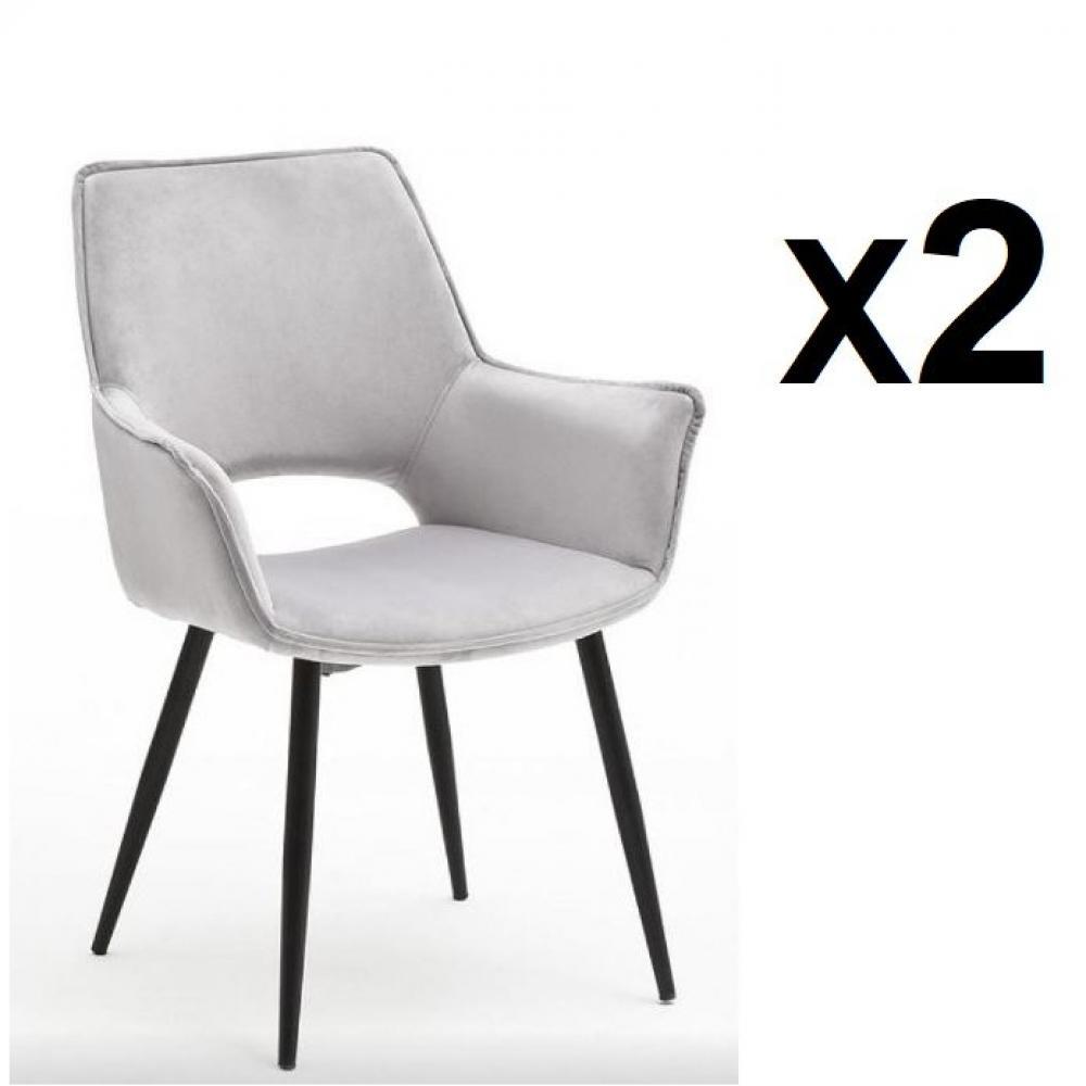 Lot de 2 chaises design SION  velours gris pieds laqués anthracite