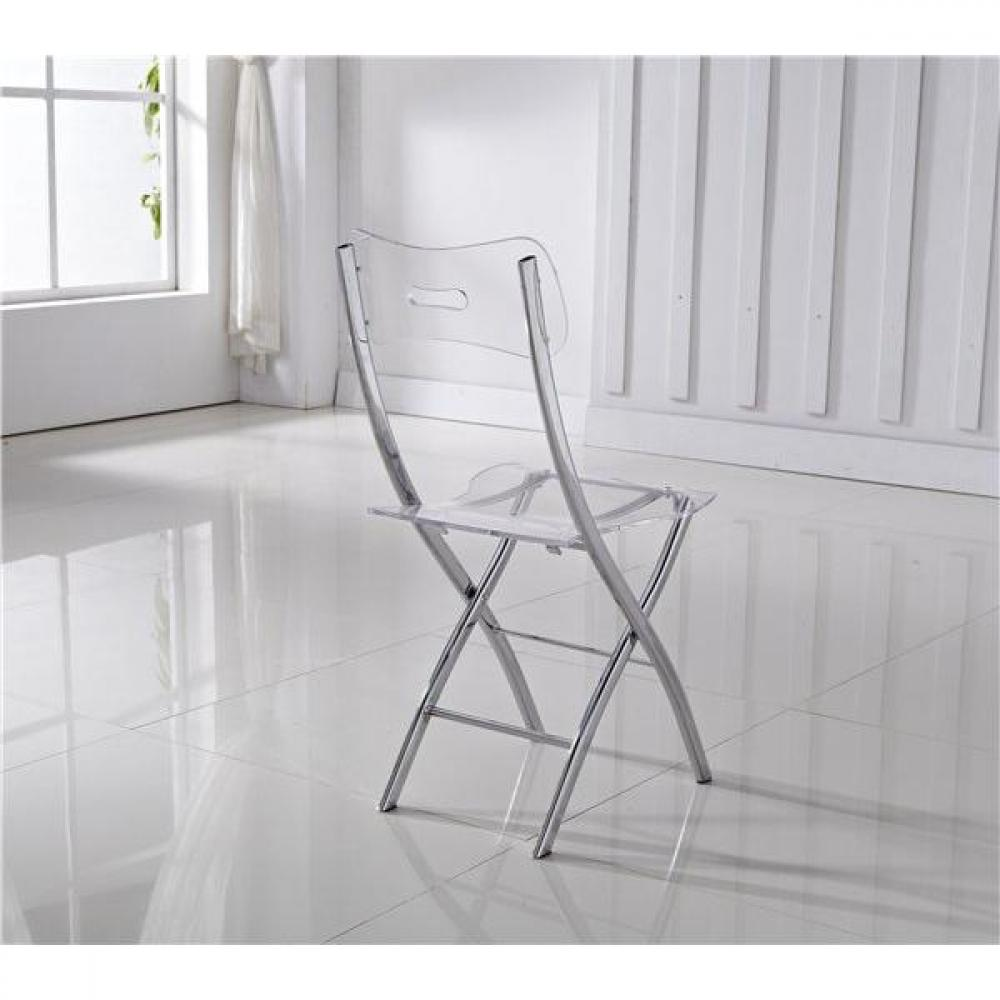 Chaises pliantes design au meilleur prix lot de 2 chaises for Table et chaise transparente