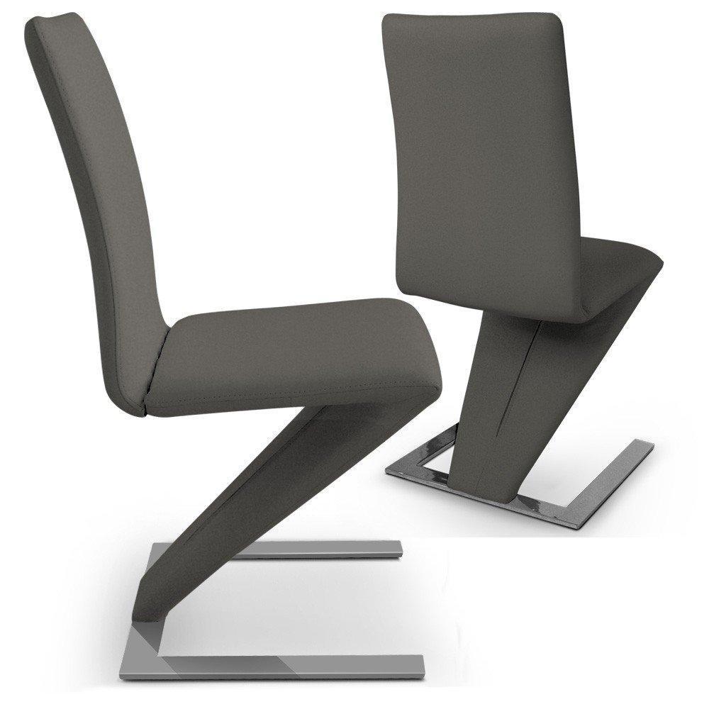 chaise design ergonomique et stylis e au meilleur prix lot de 2 chaises de salon zaz taupe. Black Bedroom Furniture Sets. Home Design Ideas
