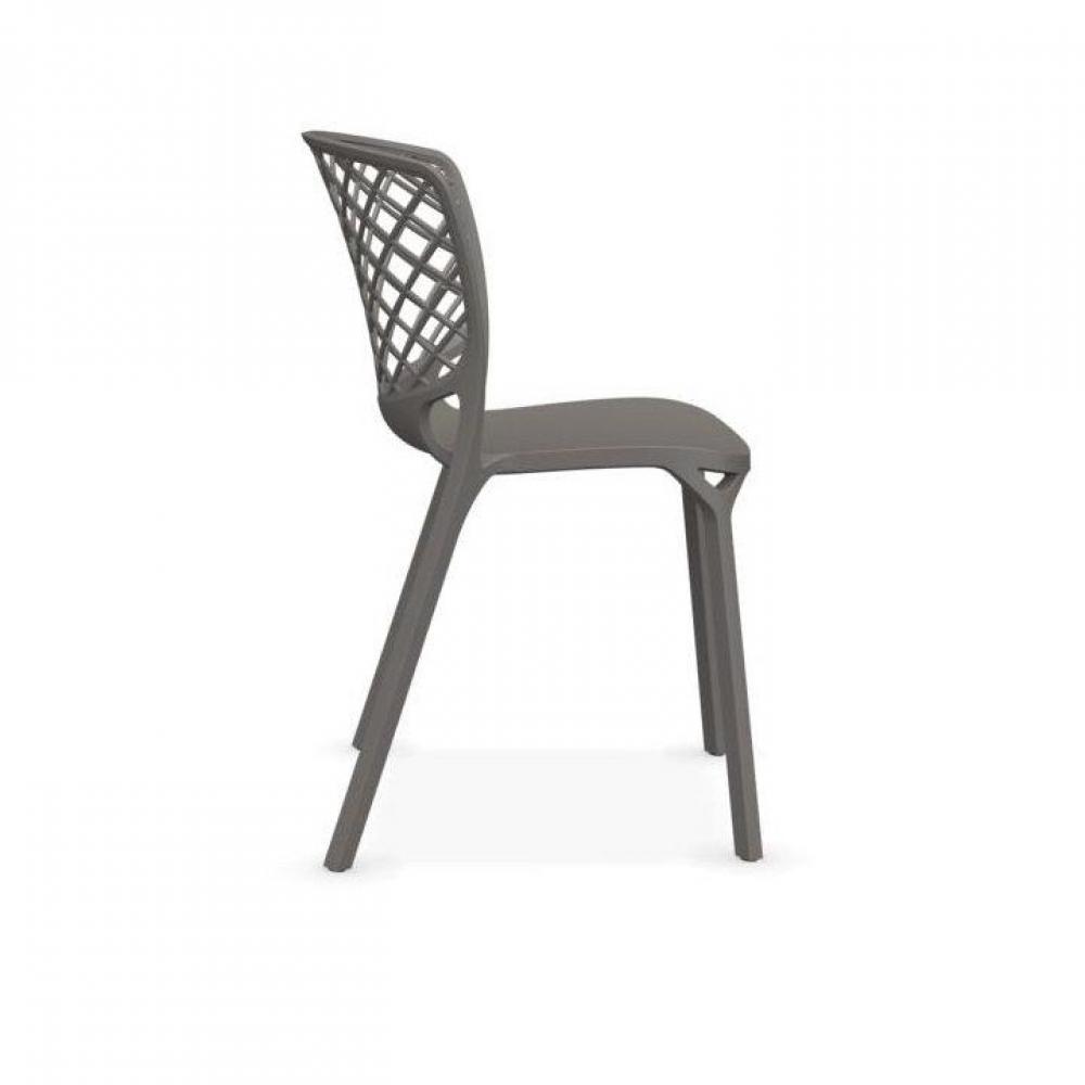 chaise de jardin design confortable au meilleur prix lot de 2 chaises empilable gamera gr ge. Black Bedroom Furniture Sets. Home Design Ideas