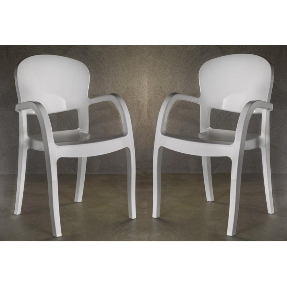 Chaises meubles et rangements lot de 2 chaises design gemini blanches brill - Chaise blanche design ...