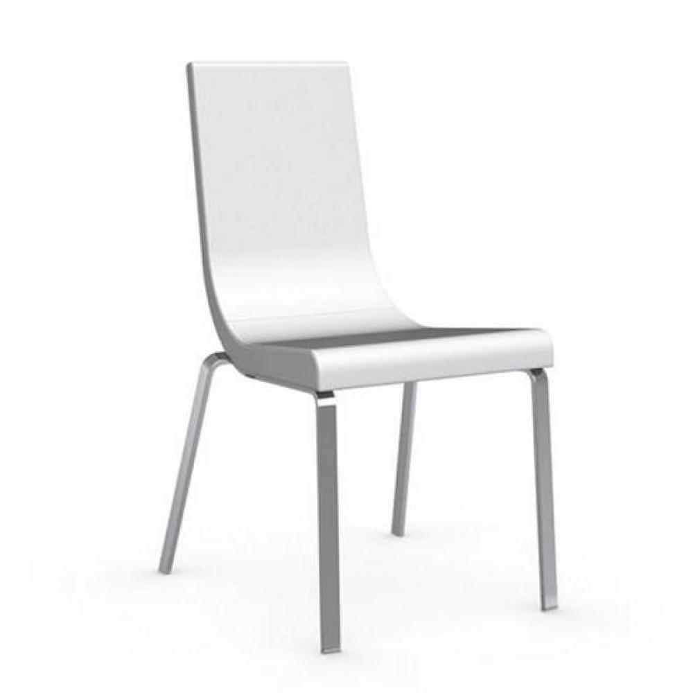 Chaise Haut De Gamme CRUISER Assise Cuir Blanc Optique