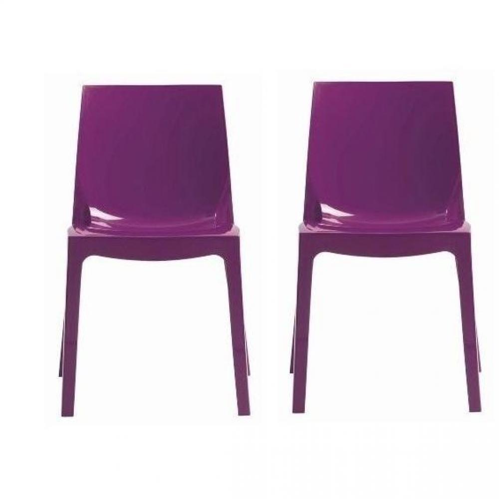 Chaises meubles et rangements lot de 2 chaises ice empilable design violet - Chaise design empilable ...