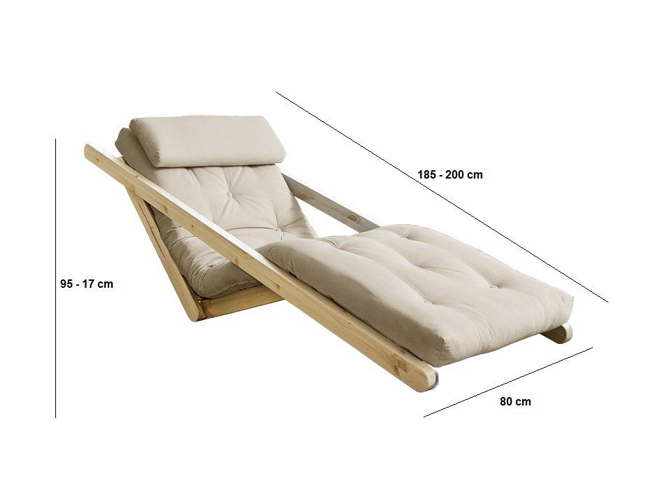 Chaise longue futon scandinave VIGGO pin massif coloris beige couchage 70*200 cm.