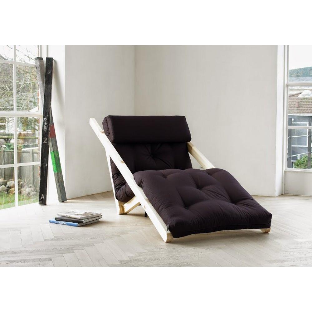 Chaise longue futon scandinave VIGGO pin massif coloris gris foncé couchage 70*200 cm.