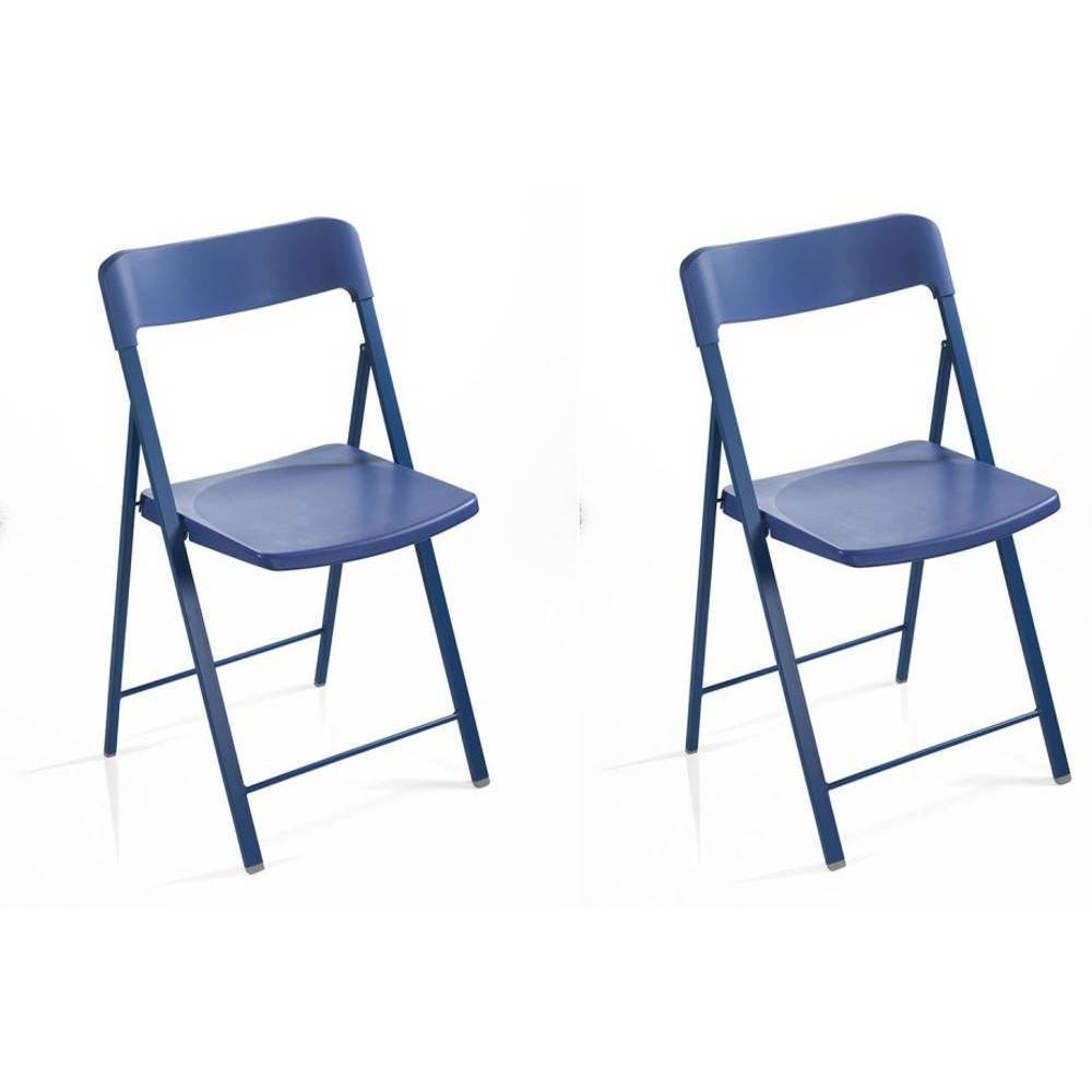 Lot de 2 chaises pliantes KULLY en plastique bleu