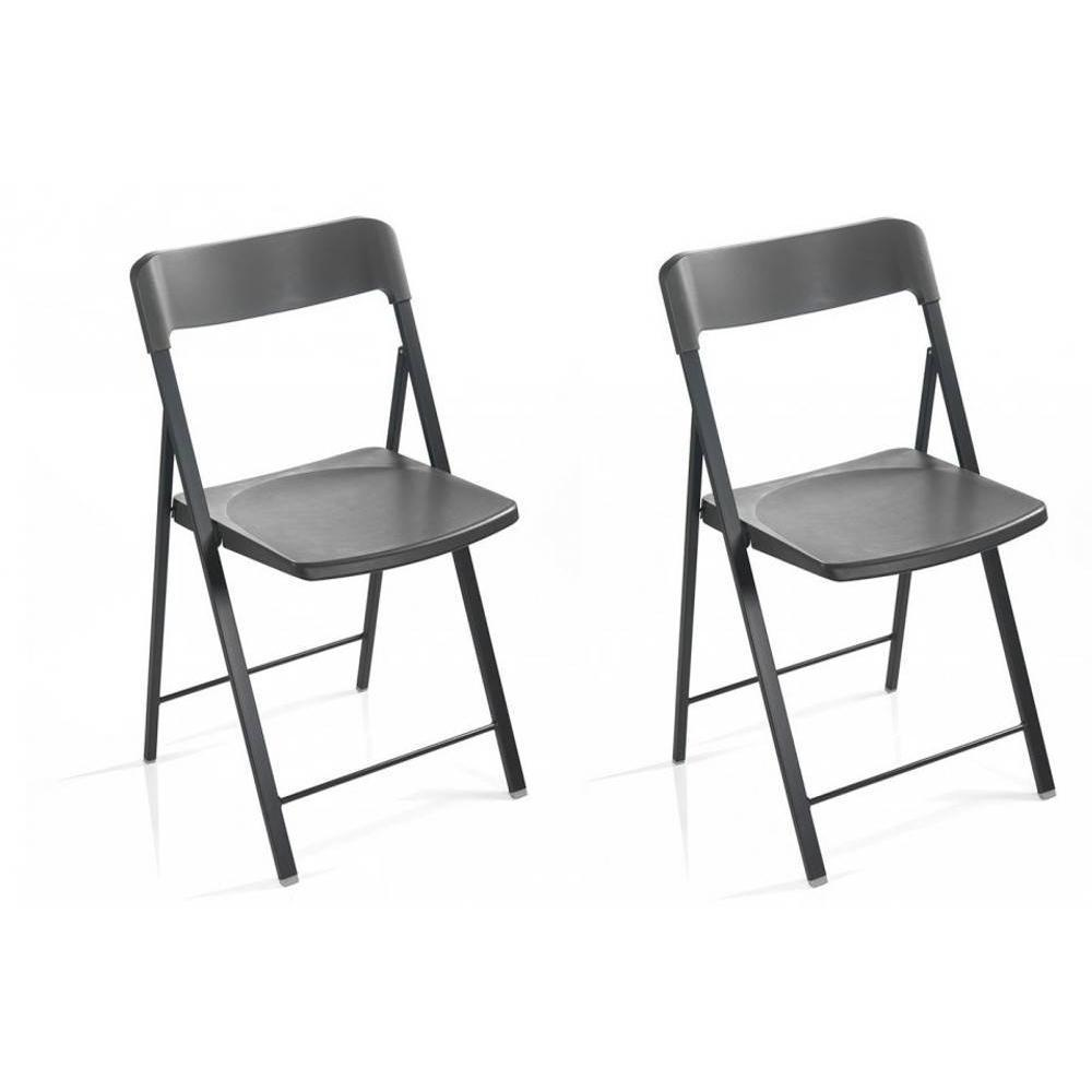 Lot de 2 chaises pliantes KULLY gris graphite