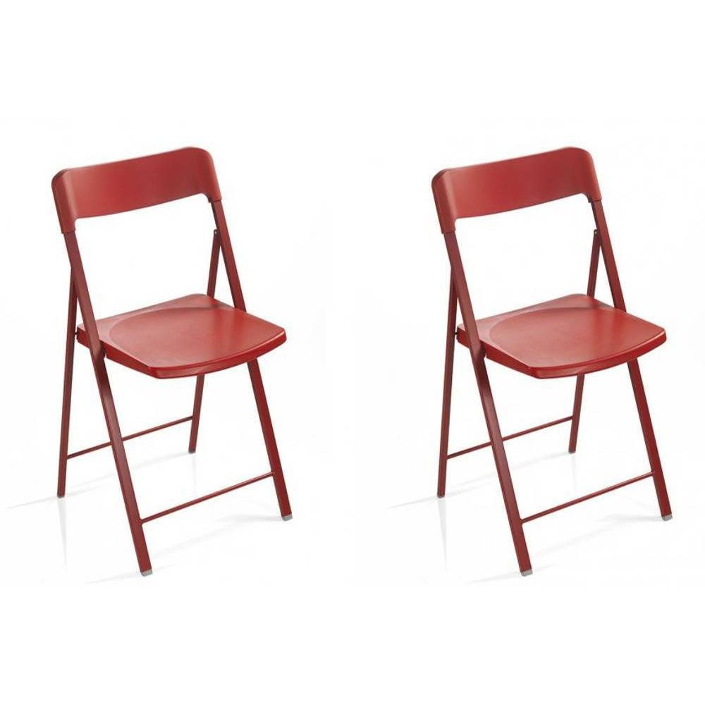 Lot de 2 chaises pliantes KULLY en plastique rouge