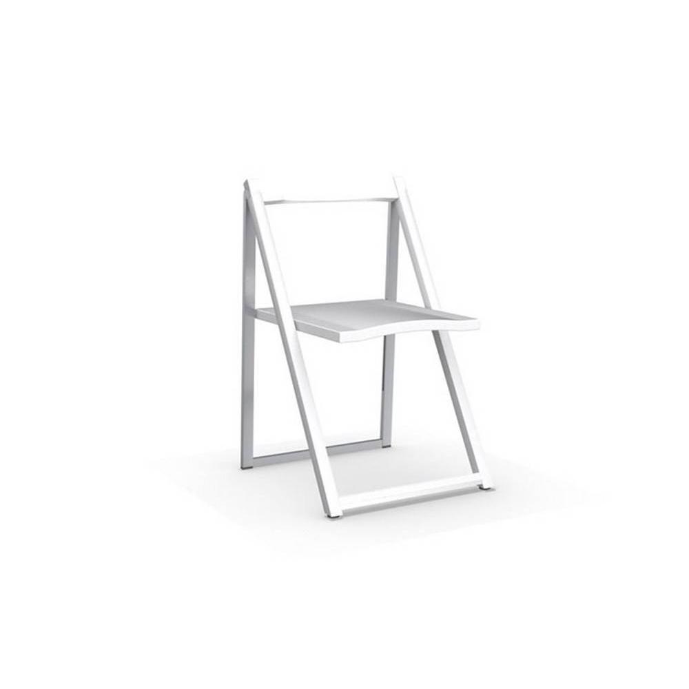 Chaise pliante SKIP blanche et aluminium satiné