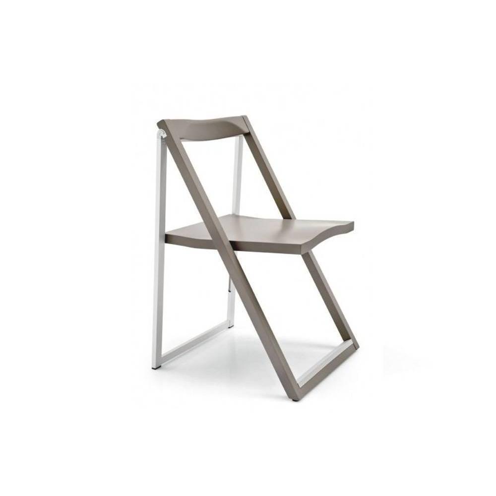 CALLIGARIS Chaise pliante SKIP grège et aluminium satiné