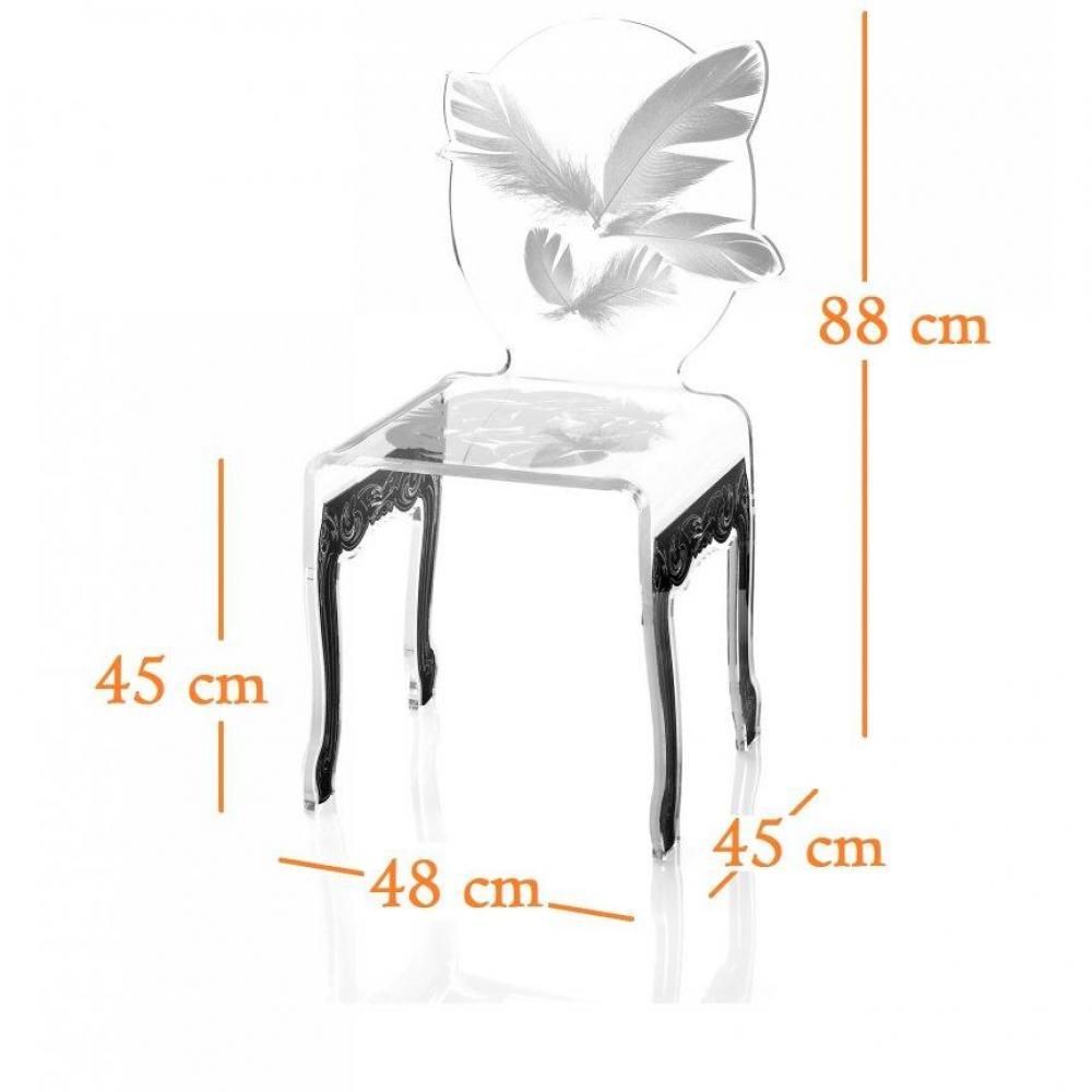 chaises meubles et rangements plume chaise design en plexi blanc pi tement noir par acrila. Black Bedroom Furniture Sets. Home Design Ideas