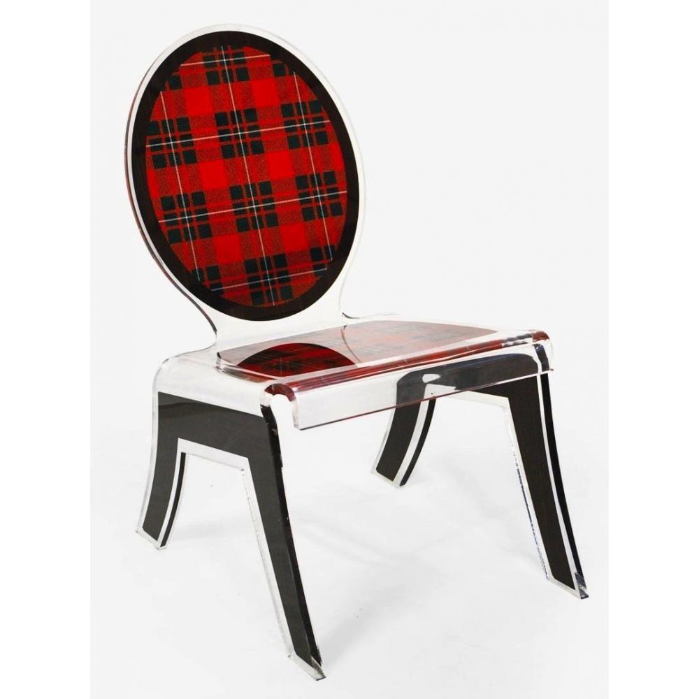 fauteuils et poufs meubles et rangements chaise basse relax ecossaise rouge plexi acrila. Black Bedroom Furniture Sets. Home Design Ideas