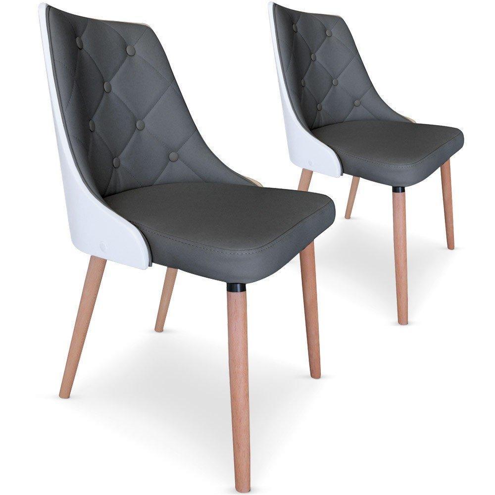 chaise design ergonomique et stylis e au meilleur prix lot de 2 chaises bicolores scandi grises. Black Bedroom Furniture Sets. Home Design Ideas