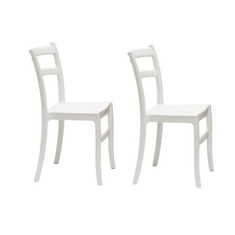 Lot de 2 chaises VENEZIA design polypropylène blanc