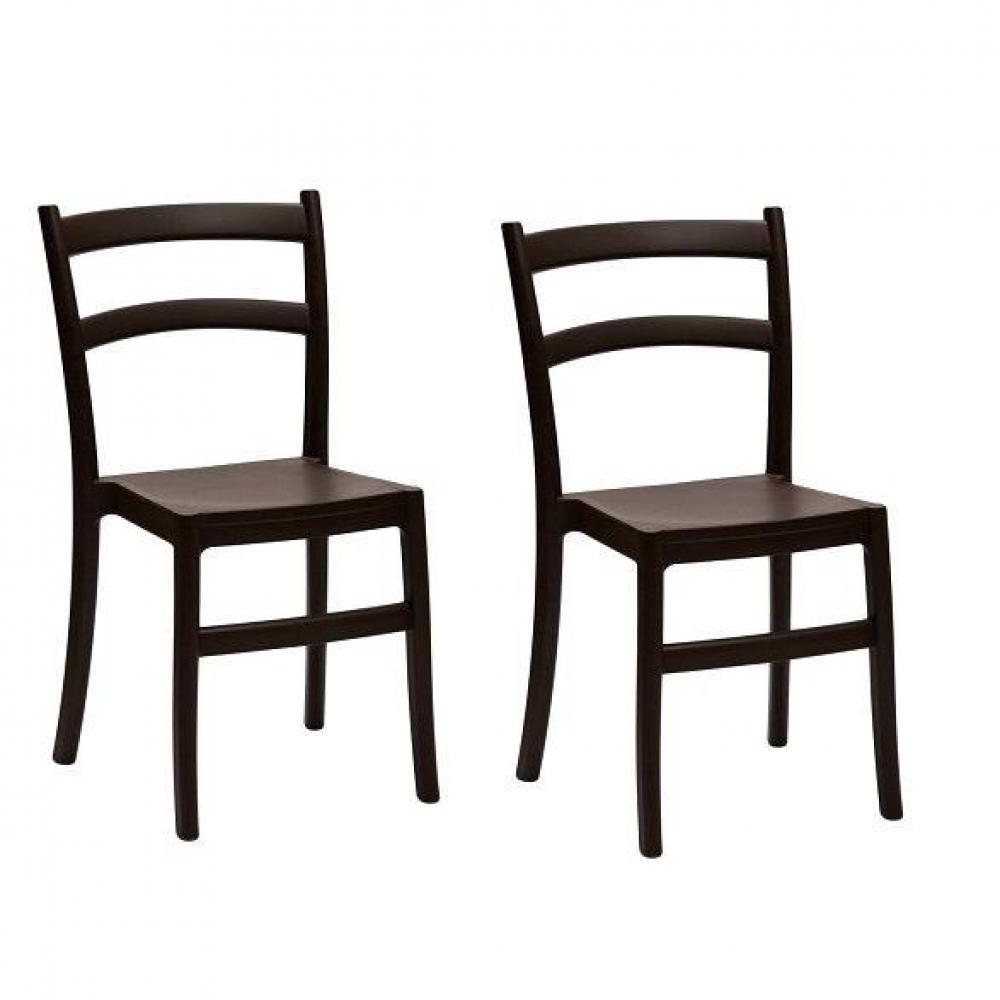 Lot de 2 chaises VENEZIA design marron. La chaise VENEZIA s'invitera facilement dans votre cuisine, votre salle à manger ou encore une chambre