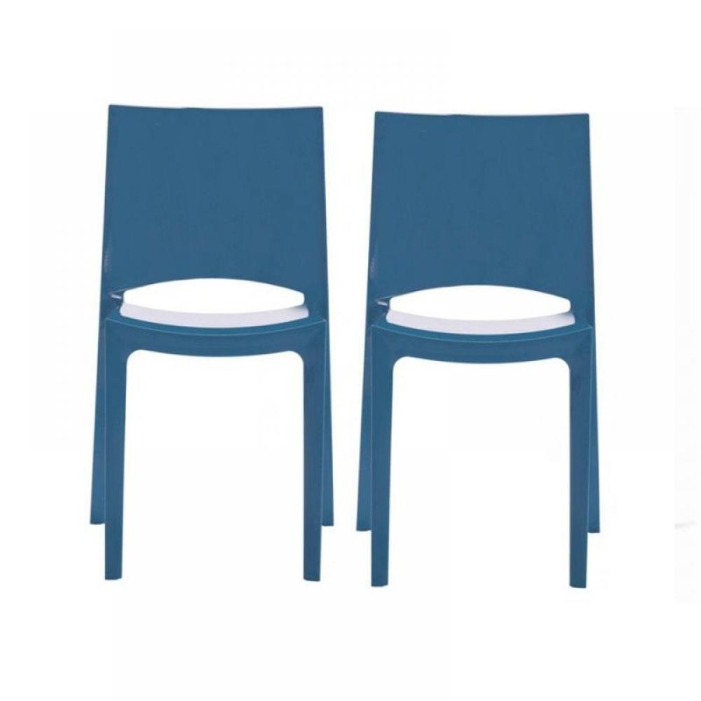 Lot De 2 Chaises SUNSHINE Empilables Design Bleu Brillant